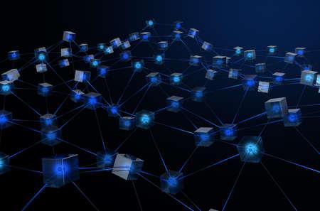 暗い背景における仮想通貨のブロックチェーンデータを描写した、相互接続されたデータブロックのネットワークを示す概念-3D レンダー