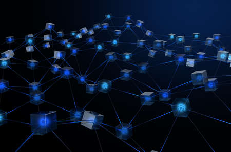 A concept showing a network of interconnected blocks of data depicting a cryptocurrency blockchain data on a dark background - 3D render Stok Fotoğraf