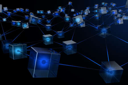 A concept showing a network of interconnected blocks of data depicting a cryptocurrency blockchain data on a dark background - 3D render Foto de archivo