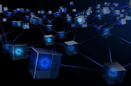 Un concepto que muestra una red de bloques de datos interconectados que representan una cadena de criptomonedas de datos sobre un fondo oscuro - 3D render