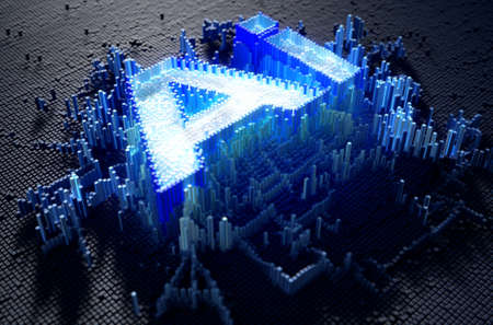 A microscopic closeup concept of small cubes in a random layout that build up to form the acronym for artificial intelligence illuminated -3D render