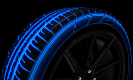 A modern sporty low profile tire with blue futuristic glowing patterns on a dark moody studio background - 3D render