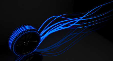 A modern sporty low profile tire with blue futuristic glowing patterns and glowing light trails on a dark moody studio background - 3D render Archivio Fotografico