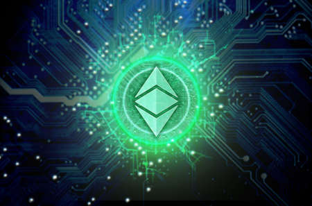 A ethereum classic cryptocurrency in hologram coin form hovvering over a computer circuit board Stock Photo