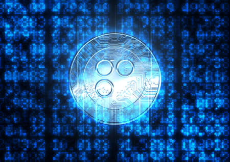 light chains: A flat section of digital code and numerical figures with an overlay of a omisego cryptocurrency in a holographic light form