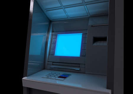 A closeup view of a generic atm facade with an illuminated blank sceen on an isolated background - 3D render