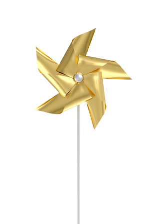 A regular toy pinwheel windmill with gold colored foil vanes on a stick on an isolated background  - 3D render  Stock Photo