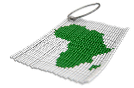continente africano: A traditional zulu beaded keyring depicting the african continent on an isolated white background - 3D render