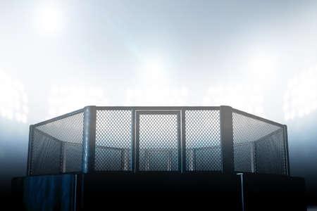 경기장 자리 표시등 -3D 렌더링에 의해 점화 검은 패딩을 입은 MMA 싸움 케이지 아레나 스톡 콘텐츠