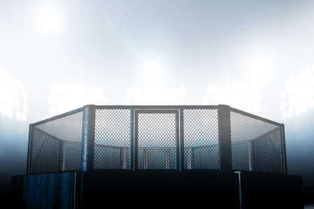 Een MMA-arena van de vechtkooi gekleed in zwarte opvulling verlicht door arena spot lights - 3D render