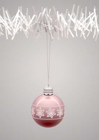 rose gold christmas baubles decorated with fine ornate snowflake patterns hanging from a fake white christmas