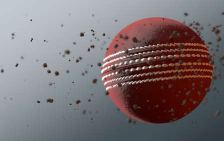 A dirty red leather cricket ball caught in slow motion flying through the air scattering dirt particles in its wake - 3D render