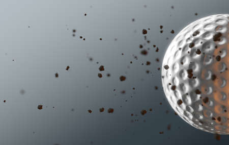 A dirty golf ball caught in slow motion flying through the air scattering dirt particles in its wake - 3D render