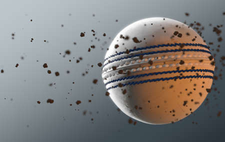 A dirty white leather cricket ball caught in slow motion flying through the air scattering dirt particles in its wake - 3D render