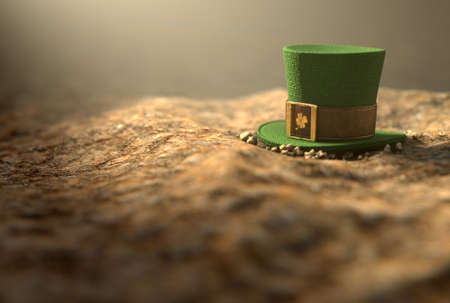paddys day: A concept image showing a tiny leprechaun hat apparently lost on the ground in the day time - 3D render