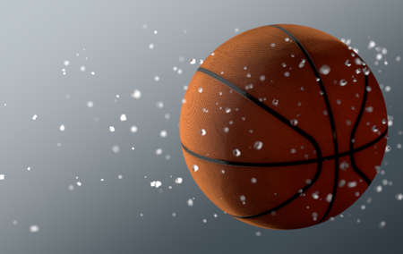 A dirty basket ball caught in slow motion flying through the air scattering water particles in its wake - 3D render Stock Photo
