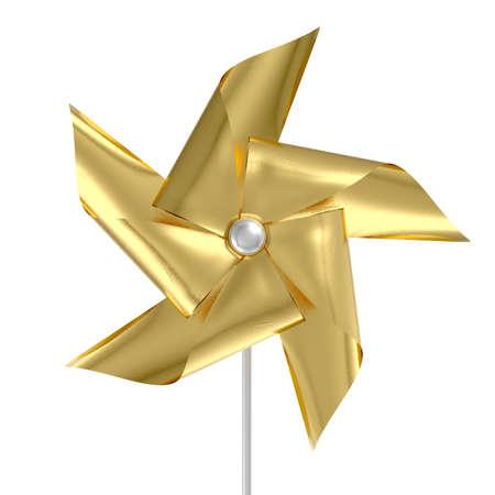 Un molinillo de viento regular del molinillo de viento del juguete con las paletas de la hoja de color oro en un palillo en un fondo aislado - 3D rinde Foto de archivo