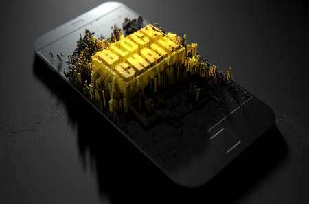 A microscopic closeup concept of small cubes in a random layout that build up to form the words block chain illuminated on a generic smartphone - 3D render
