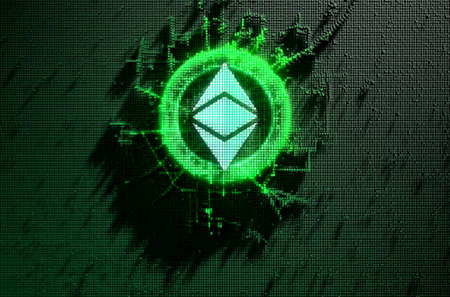 A microscopic closeup concept of small cubes in a random layout that build up to form the ethereum classic symbol illuminated - 3D render Stockfoto