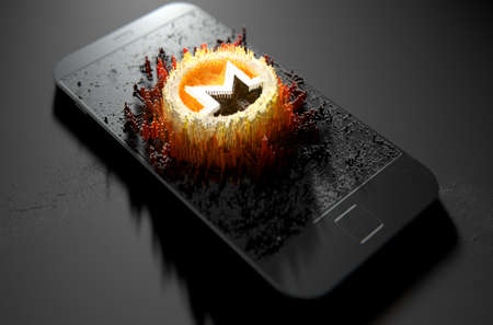 A microscopic closeup concept of small cubes in a random layout that build up to form the monero symbol illuminated on a generic smartphone - 3D render Stock Photo