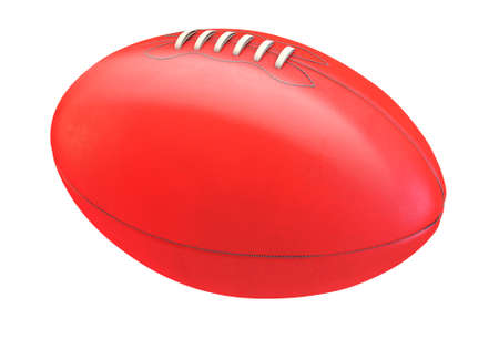 A generic unbranded aussie rules football ball on an isolated whote studio background - 3D render