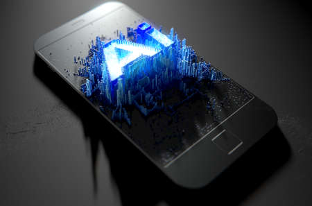 Un concepto microscópico de primer plano de pequeños cubos en un diseño aleatorio que se acumulan para formar la palabra inteligencia artificial iluminada en un teléfono inteligente genérico - 3D render Foto de archivo