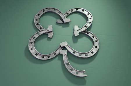Cuatro herraduras del metal verde formadas en la forma de un trébol en un fondo verde aislado -3D rinden Foto de archivo - 90266105