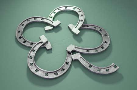 Cuatro herraduras del metal verde formadas en la forma de un trébol en un fondo verde aislado -3D rinden Foto de archivo - 90266111
