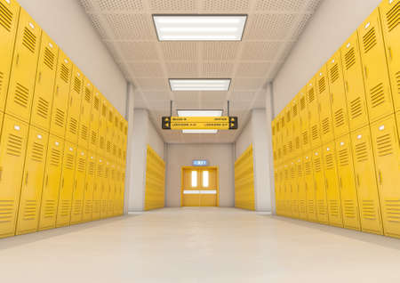 A look down a well lit clean schools hallway of yellow lockers - 3D render