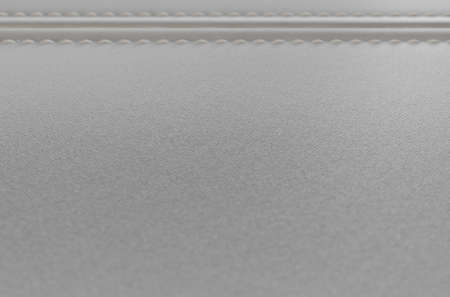 A close up view of two sections of white fabric with a canvas texture sewn and stitched together - 3D render Stock Photo
