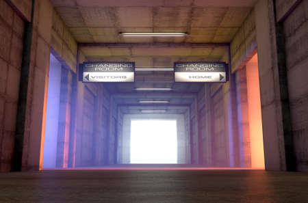 Looking down a dark stadium sports tunnel towards the illuminated arena with change rooms and signs for the home and visiting team - 3D render