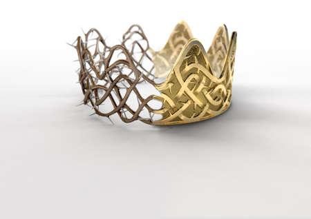 Ein religiöses Kreuzigungskonzept einer Spalte zwischen einer goldenen Krone und einer gesponnenen Dornenkrone auf einem lokalisierten schwarzen Studiohintergrund - 3D übertragen Standard-Bild
