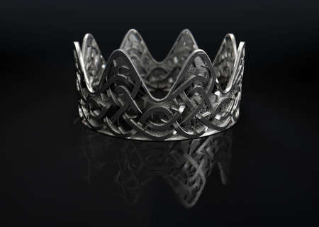 A religious crucifixion concept of a silver royal crown with a stylized woven thorn pattern etched into its surface on an isolated black studio background - 3D render