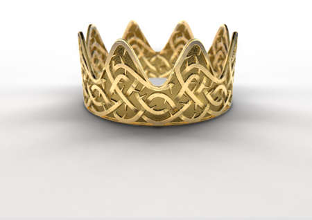 A religious crucifixion concept of a golden royal crown with a stylized woven thorn pattern etched into its surface on an isolated white studio background - 3D render 스톡 콘텐츠