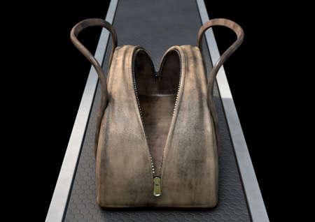 An empty open brown leather duffel bag with a zipper on a conveyor belt - 3D render