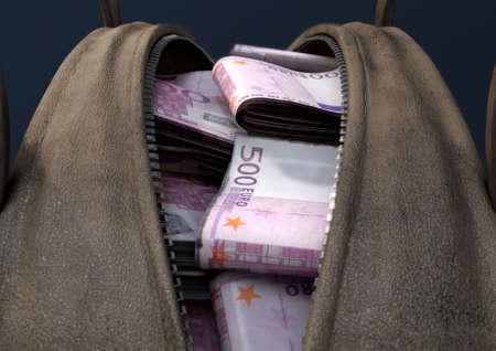 Een concept van een open bruine lederen plunjezak die bundels van illegale opgerolde eurobiljetten onthult - 3D render