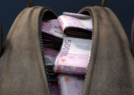 A concept depicting an open brown leather duffel bag revealing bundles of illicit rolled euro notes - 3D render Standard-Bild