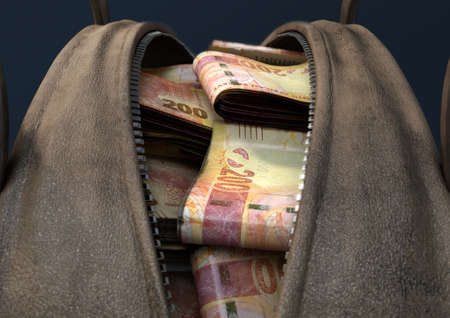 A concept depicting an open brown leather duffel bag revealing bundles of illicit rolled south african rand notes - 3D render Stock Photo