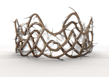 A religious crucifixion concept of thorn branches woven into a crown shape  on an isolated white studio background - 3D render Stockfoto
