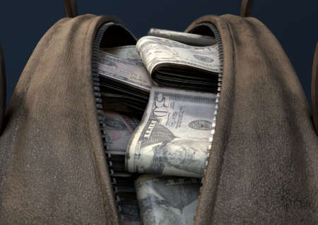 A concept depicting an open brown leather duffel bag revealing bundles of illicit rolled US dollar notes - 3D render Stock Photo