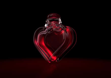 A love concept showing a heart shaped glass bottle containing a red love potion on a dark backlit background - 3D render