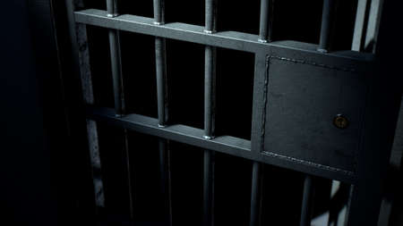 A closeup of the locking mechanism of an open jail cell with welded iron bars on a dimly lit dark background - 3D render