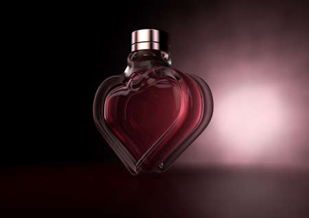 A love concept showing a heart shaped glass bottle of red perfume on a dark backlit background - 3D render Stock Photo