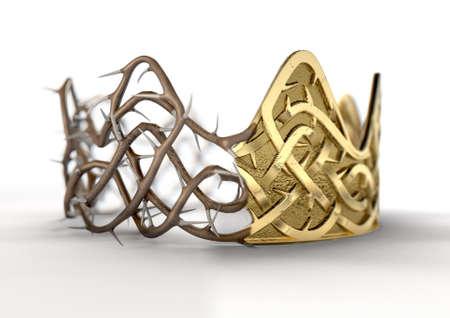 Een religieuze kruisiging concept van een splitsing tussen een gouden kroon en een geweven doorn kroon op een geïsoleerde zwarte studio achtergrond - 3D renderen