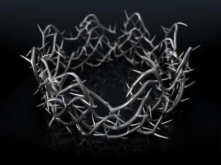 실버 톱 분기의 종교 십자가 개념 격리 된 검은 스튜디오 배경 -3D 렌더링에 왕관 모양으로 짠