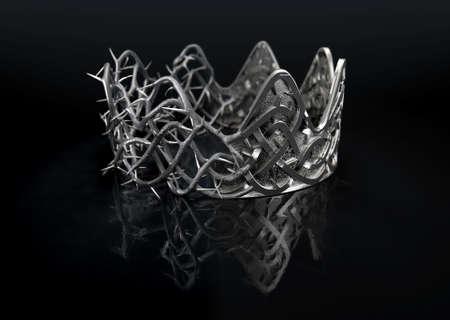 실버 왕관과 격리 된 검은 스튜디오 배경 -3D 렌더링에 짠 실버 가시 왕관 사이 분할의 종교 십자가 개념