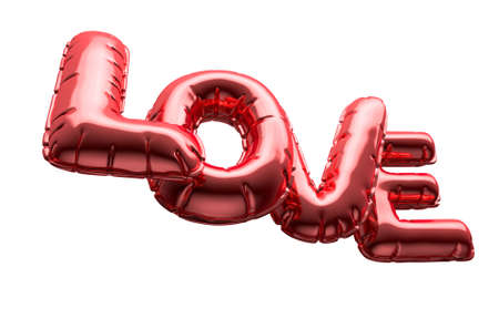 A set of four metallic balloon letters spelling the word love to commemorate valentines day on an isolated white background - 3D render