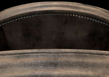An empty open brown leather duffel bag with a zipper - 3D render Stock Photo