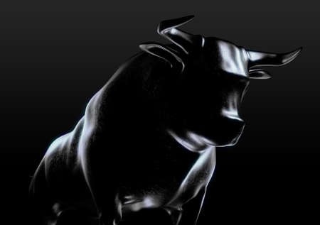 A sculpted casting depicting a bull in dramatic contrasting light representing financial market trends on an isolated dark background - 3D render Stock Photo - 94703201