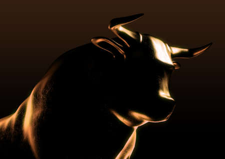 A sculpted casting depicting a bull in dramatic contrasting light representing financial market trends on an isolated dark background - 3D render Stock Photo
